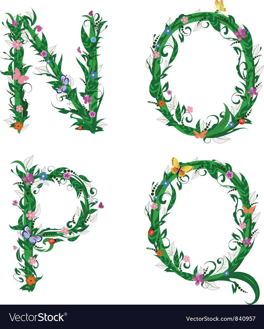 Summer floral alphabet letters vector | Price: 1 Credit (USD $1)