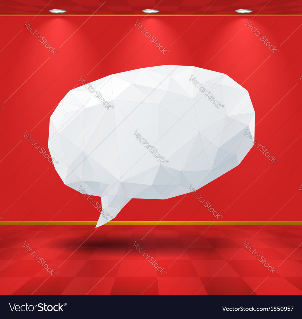 White geometric speech bubble in the room vector | Price: 1 Credit (USD $1)