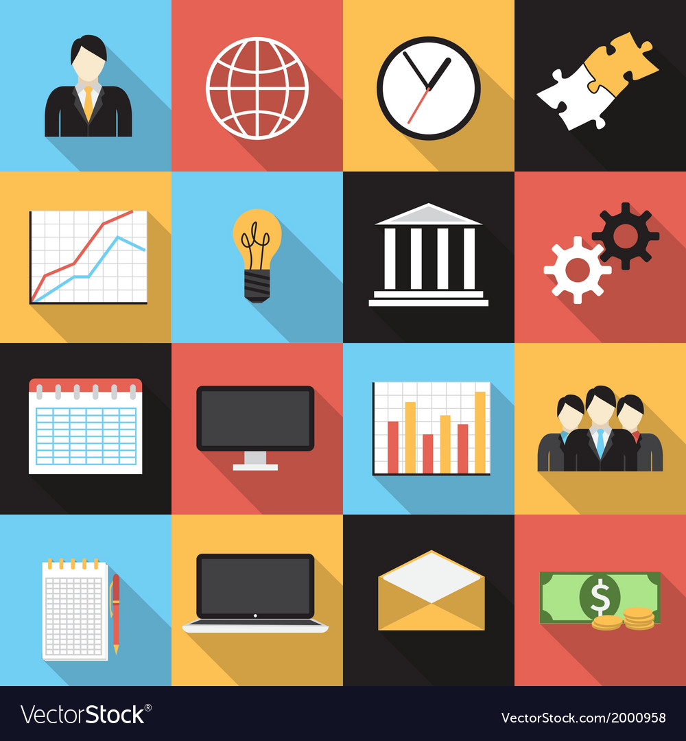 Business flat generic icons set vector   Price: 1 Credit (USD $1)