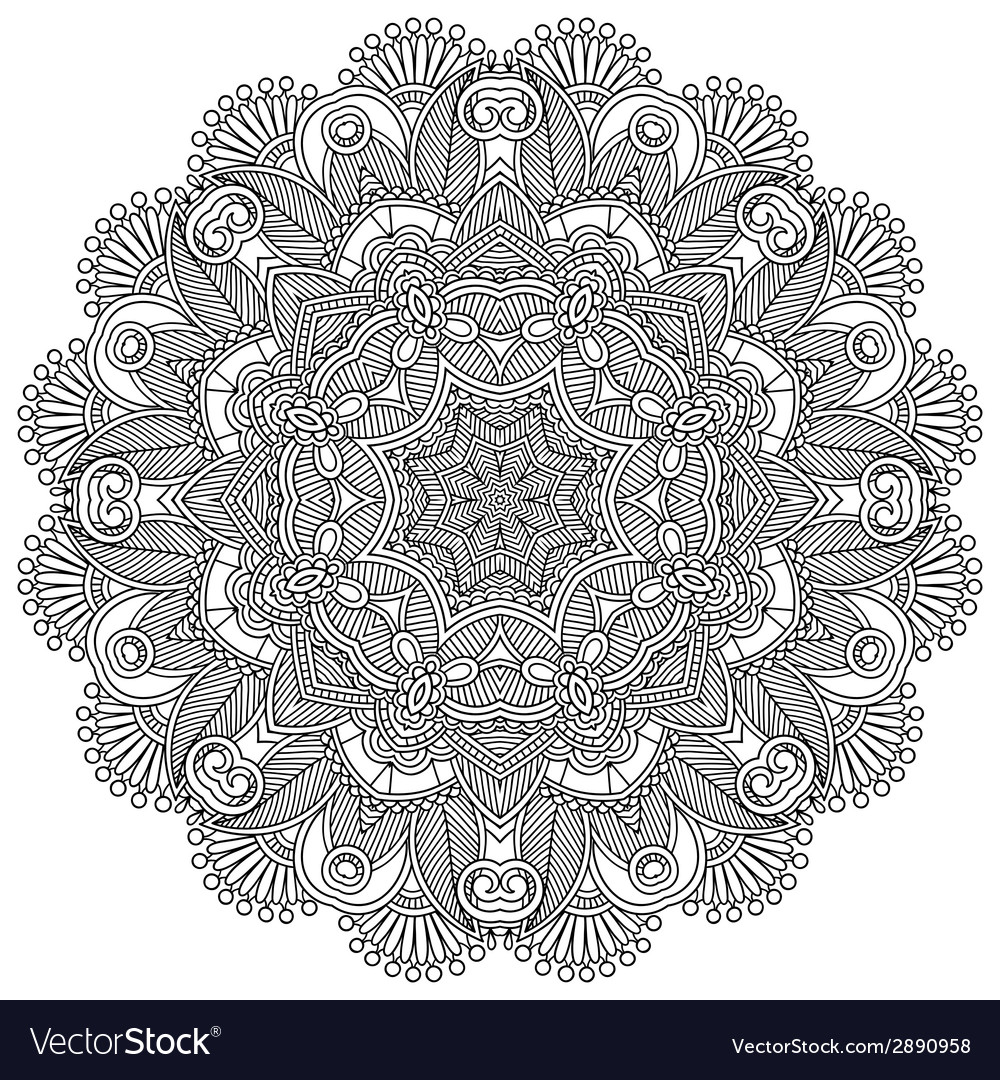 Circle lace black and white ornament vector | Price: 1 Credit (USD $1)