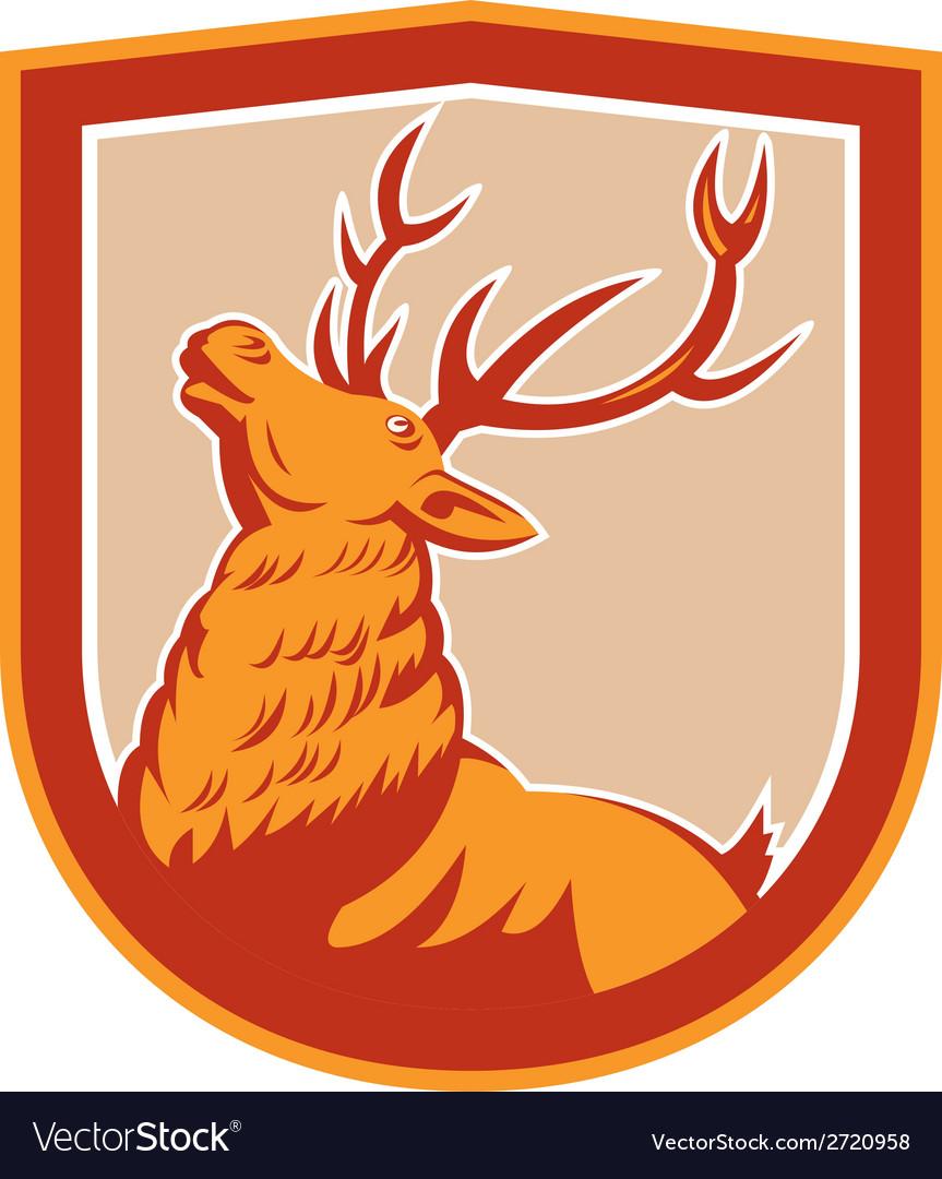Deer stag buck head looking up retro vector | Price: 1 Credit (USD $1)