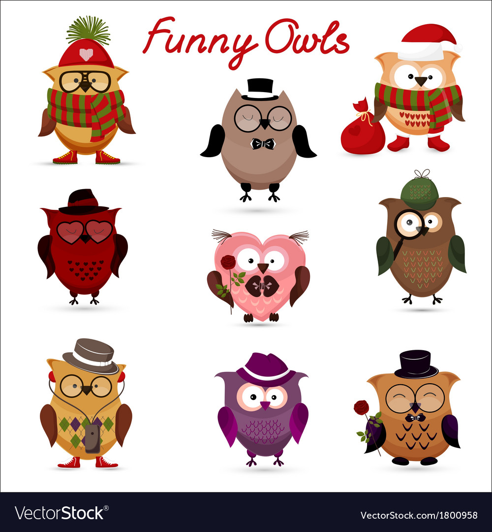 Funny owls set for your design vector | Price: 1 Credit (USD $1)