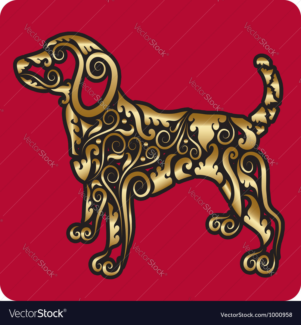 Golden dog ornament vector | Price: 1 Credit (USD $1)