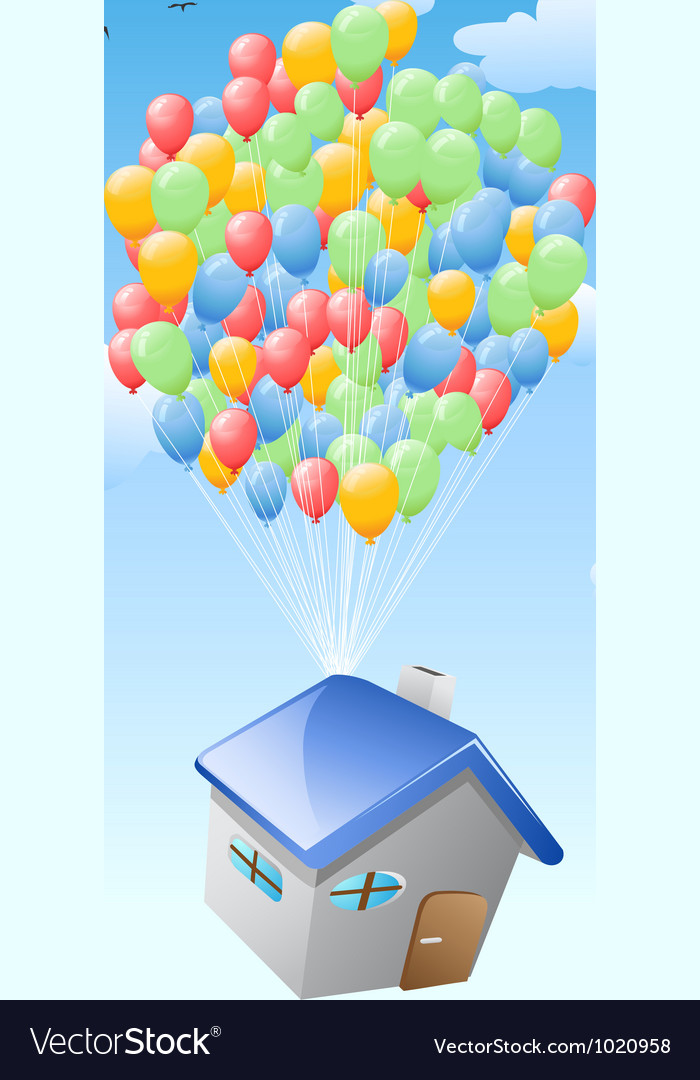 House with balloons flying in the blue sky vector | Price: 1 Credit (USD $1)