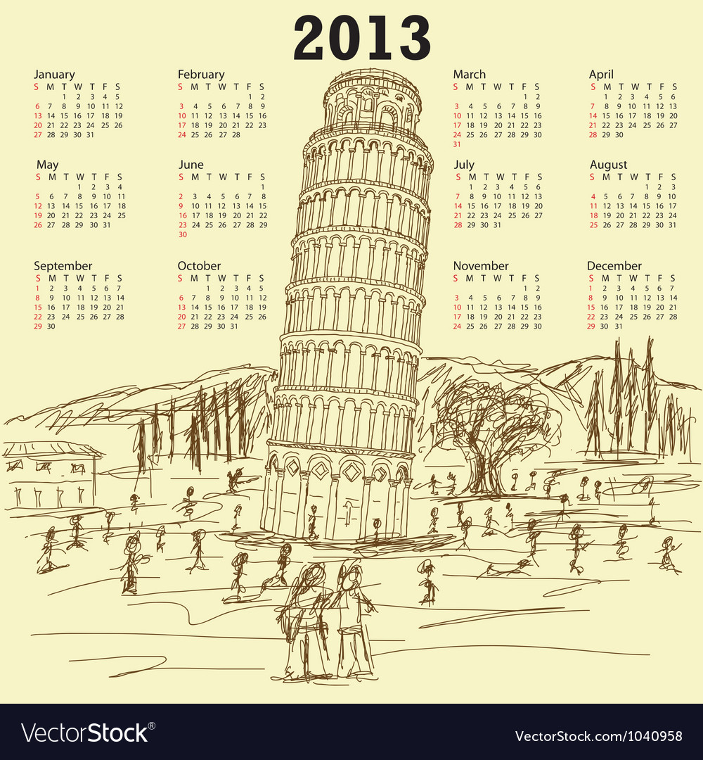 Leaning tower of pisa 2013 vintage calendar vector | Price: 1 Credit (USD $1)
