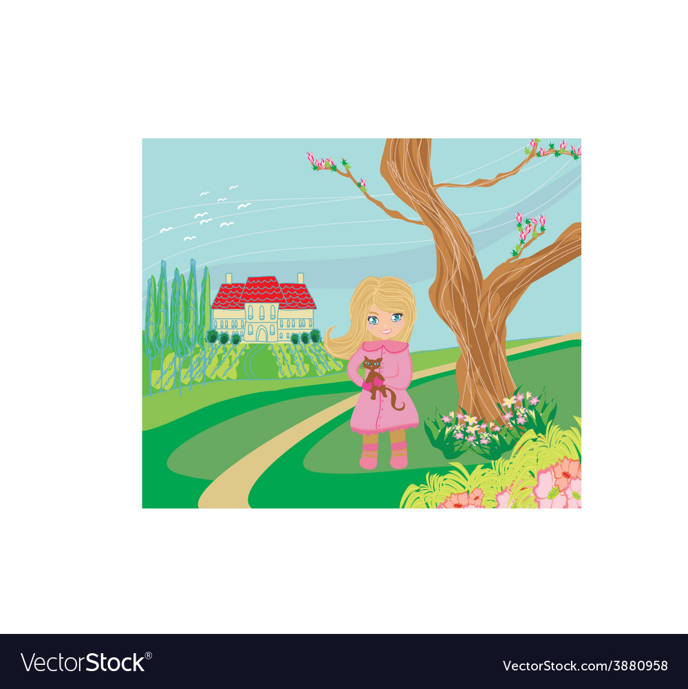 Little girl is walking walking in spring day with vector | Price: 1 Credit (USD $1)