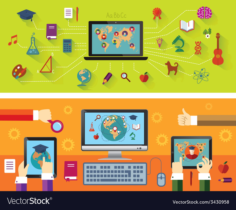 Online education modern technology vector | Price: 1 Credit (USD $1)
