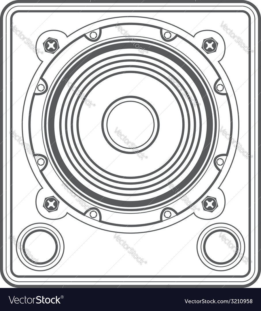 Outline concert subwoofer speaker vector | Price: 1 Credit (USD $1)