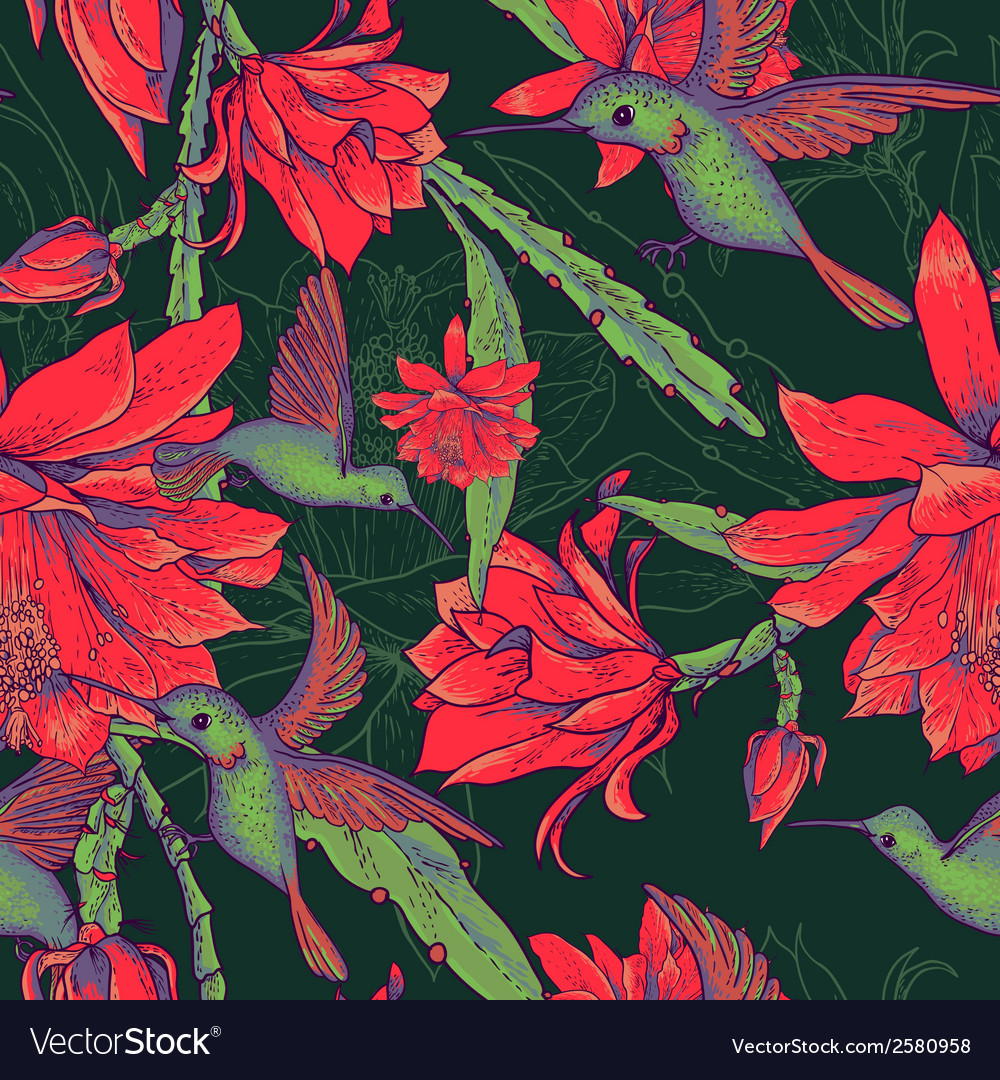 Seamless background flowers and hummingbirds vector | Price: 1 Credit (USD $1)