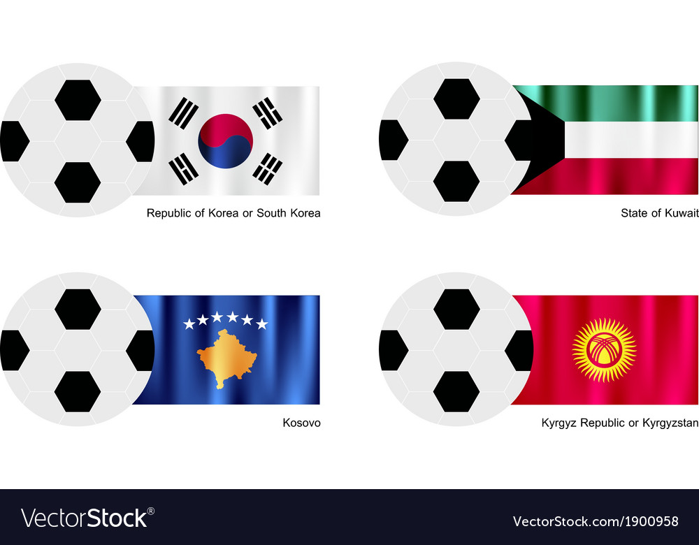Soccer ball with south korea kuwait kosovo flag vector | Price: 1 Credit (USD $1)