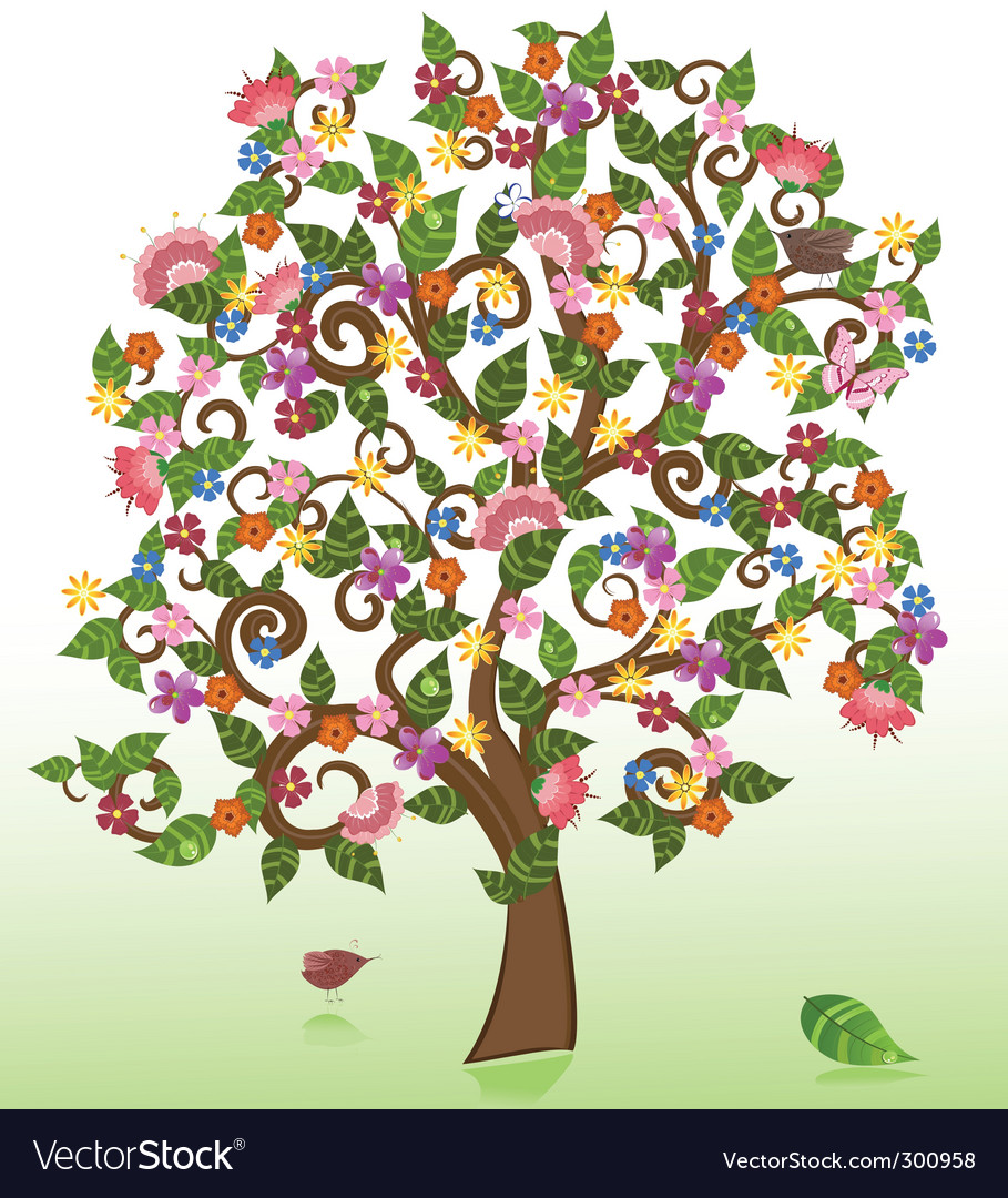 Summer abstract floral tree vector | Price: 1 Credit (USD $1)