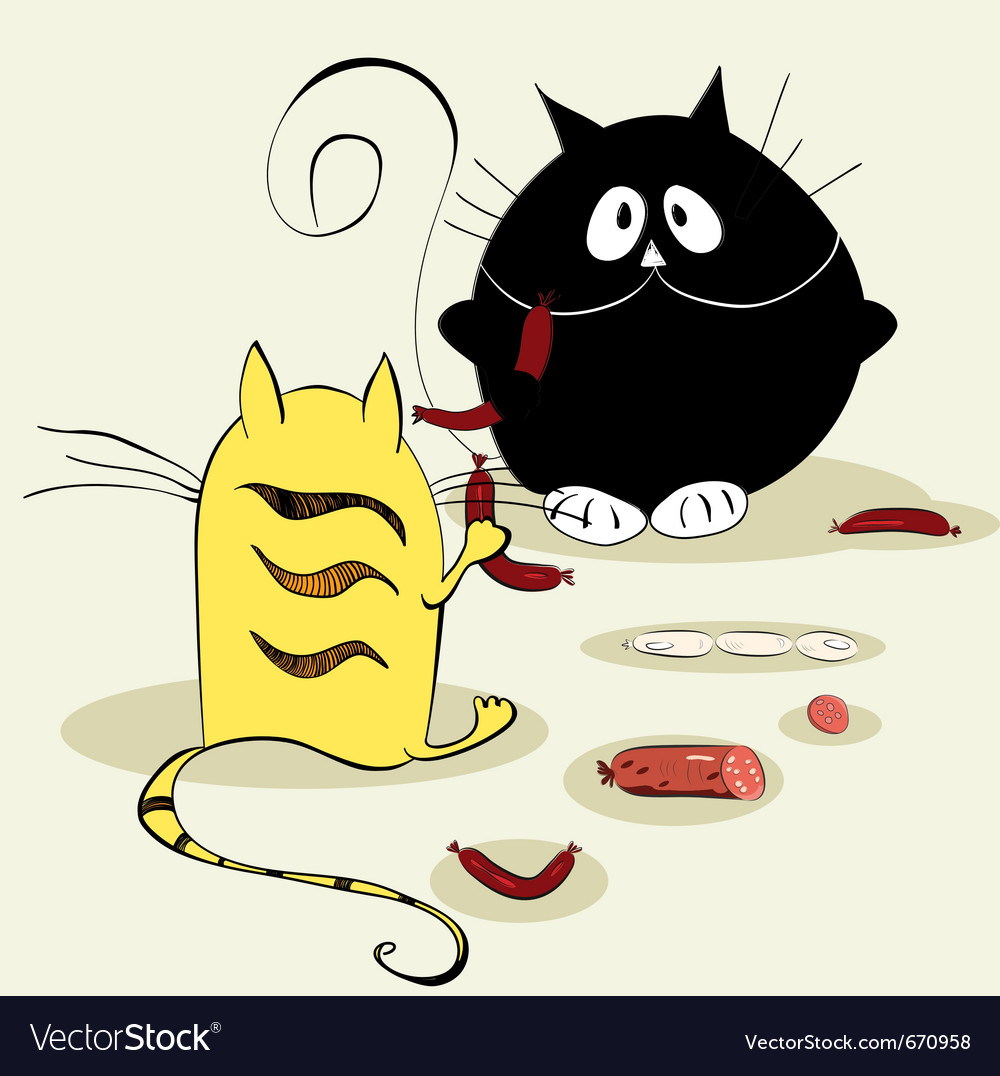 Two cats vector | Price: 1 Credit (USD $1)