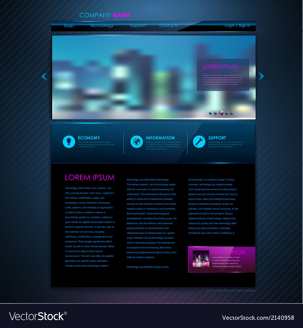 Web site template design technology background vector | Price: 1 Credit (USD $1)