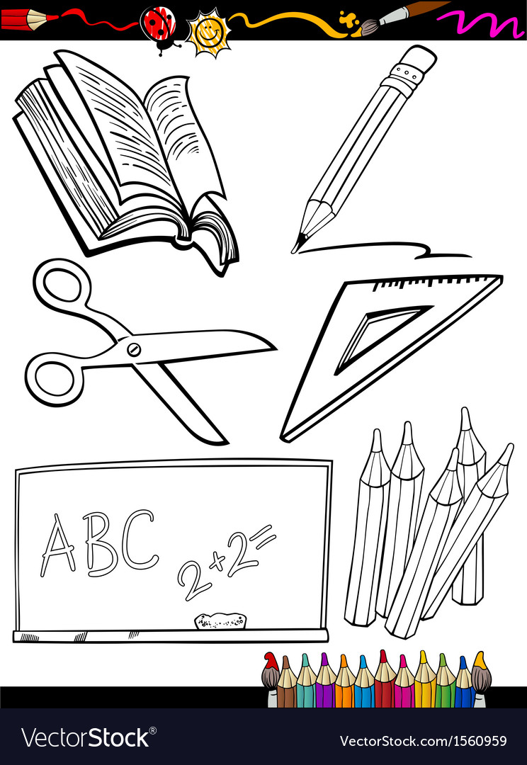 Cartoon school objects coloring page vector | Price: 1 Credit (USD $1)