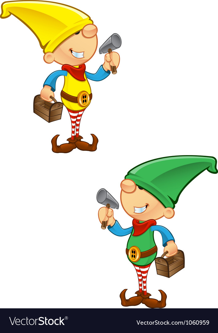Elf mascot hammer and toolbox vector | Price: 1 Credit (USD $1)