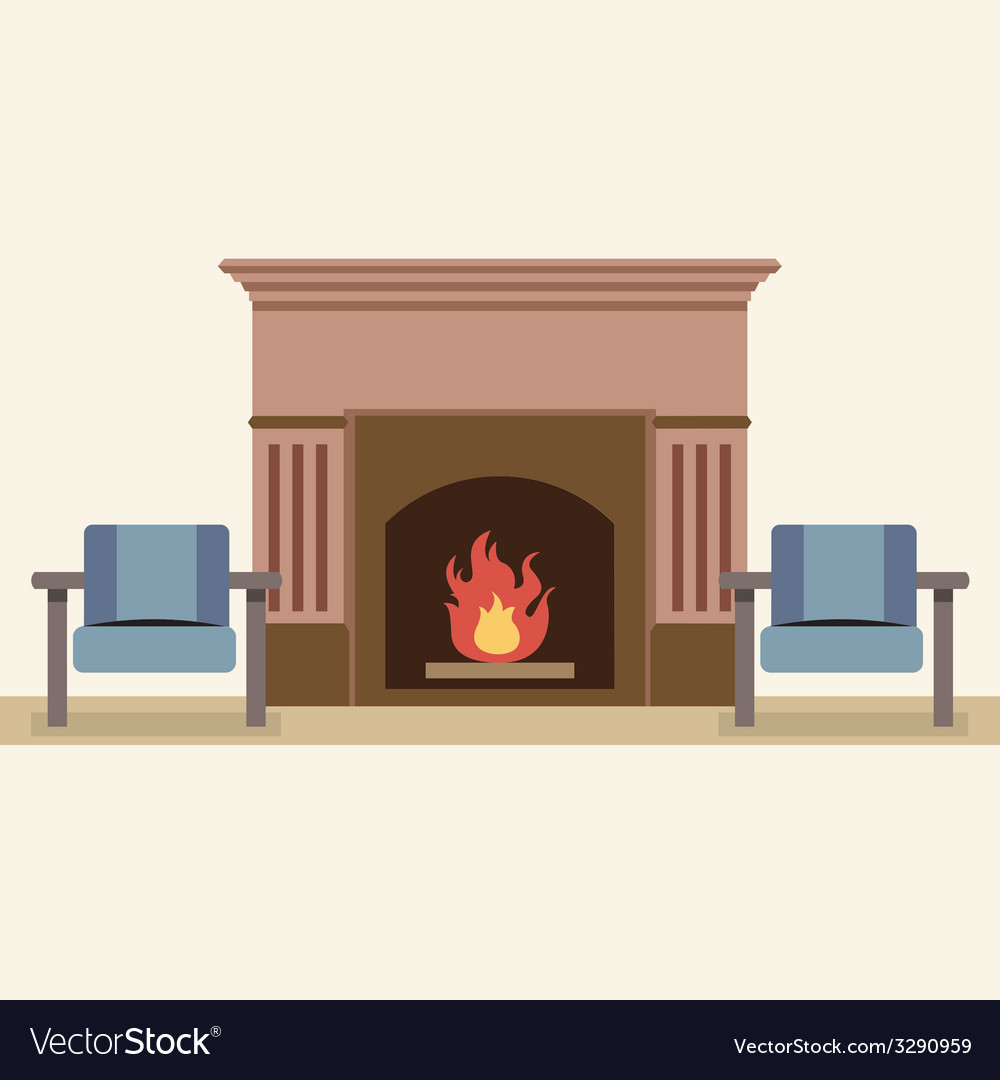 Empty chairs and fireplace in living room interior vector | Price: 1 Credit (USD $1)