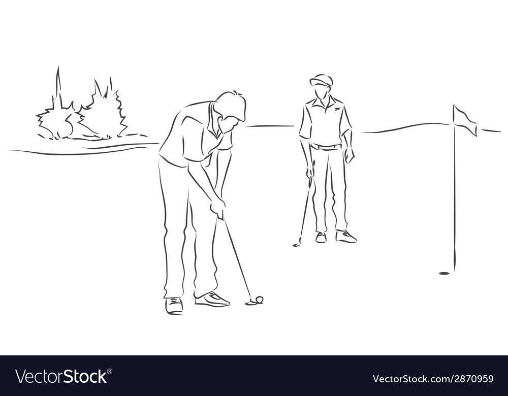 Friends play golf vector | Price: 1 Credit (USD $1)