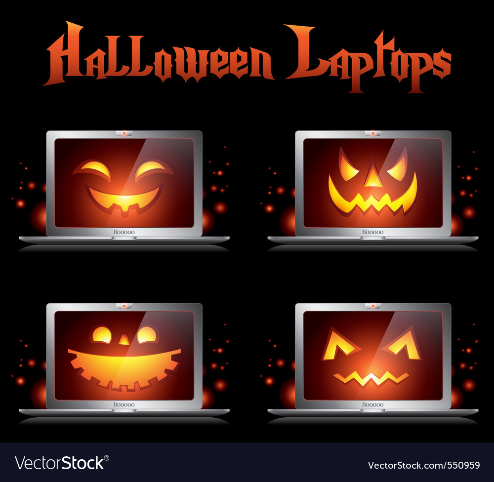 Halloween laptop vector | Price: 1 Credit (USD $1)