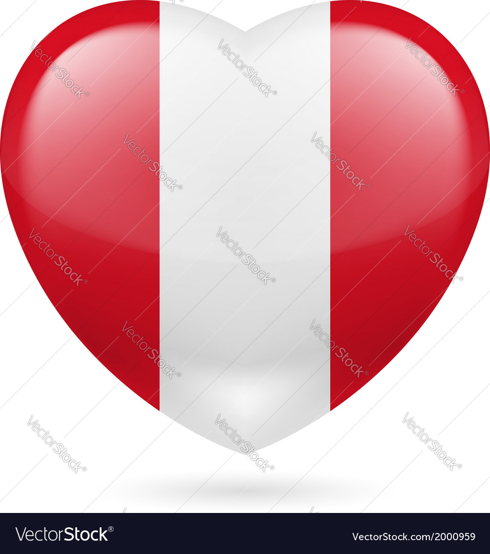 Heart icon of peru vector | Price: 1 Credit (USD $1)