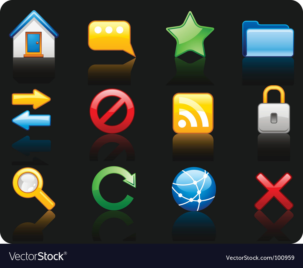 Internet black background icon set vector | Price: 1 Credit (USD $1)