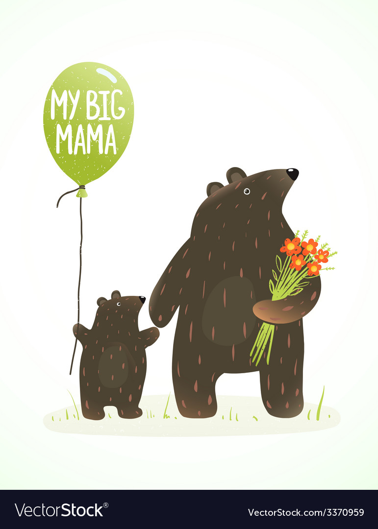Mother bear and her baby childish animal cartoon vector | Price: 1 Credit (USD $1)
