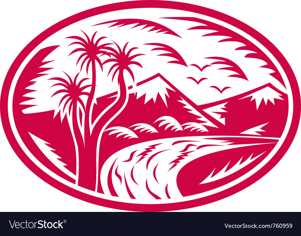 Mountain with cabbage tree river vector | Price: 1 Credit (USD $1)