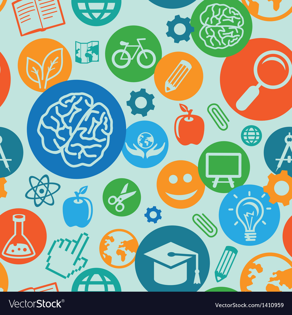 Seamless pattern with education icons vector | Price: 1 Credit (USD $1)