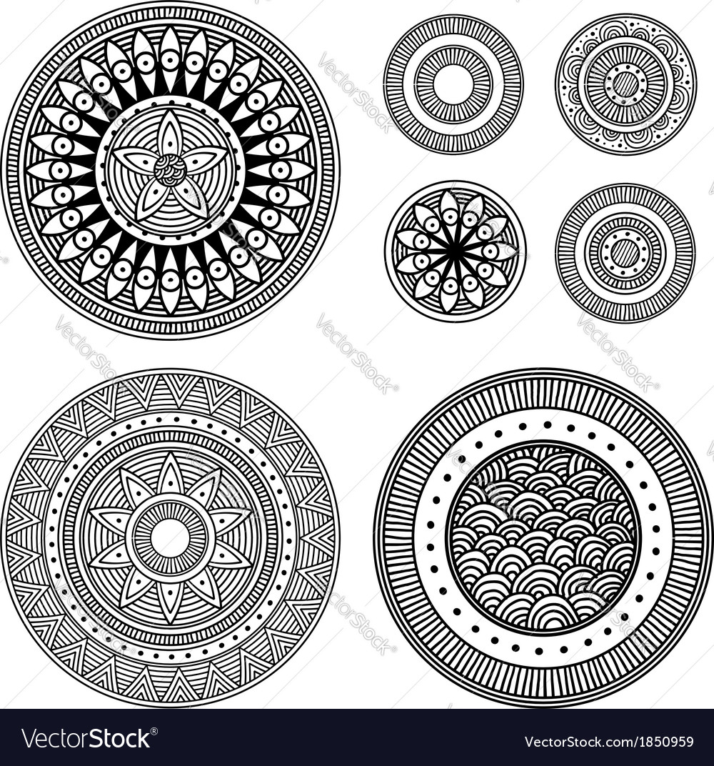 Set of design elements - patterned circles vector | Price: 1 Credit (USD $1)