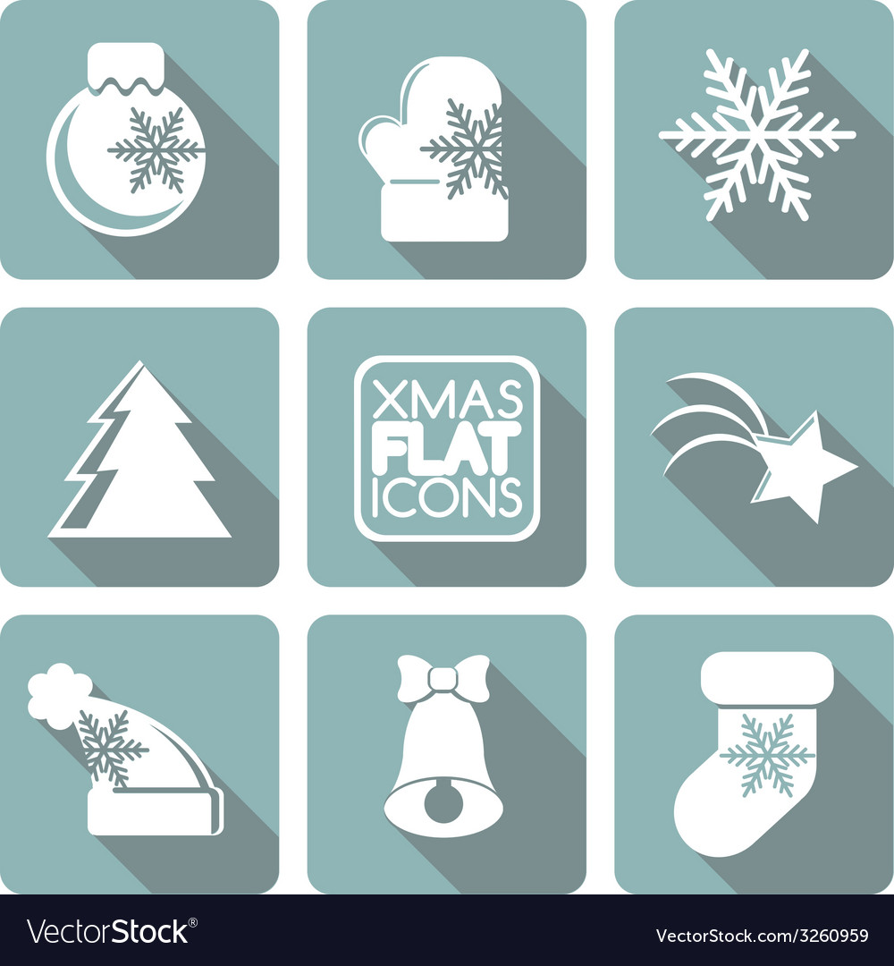Set of flat colored simple christmas elements vector | Price: 1 Credit (USD $1)