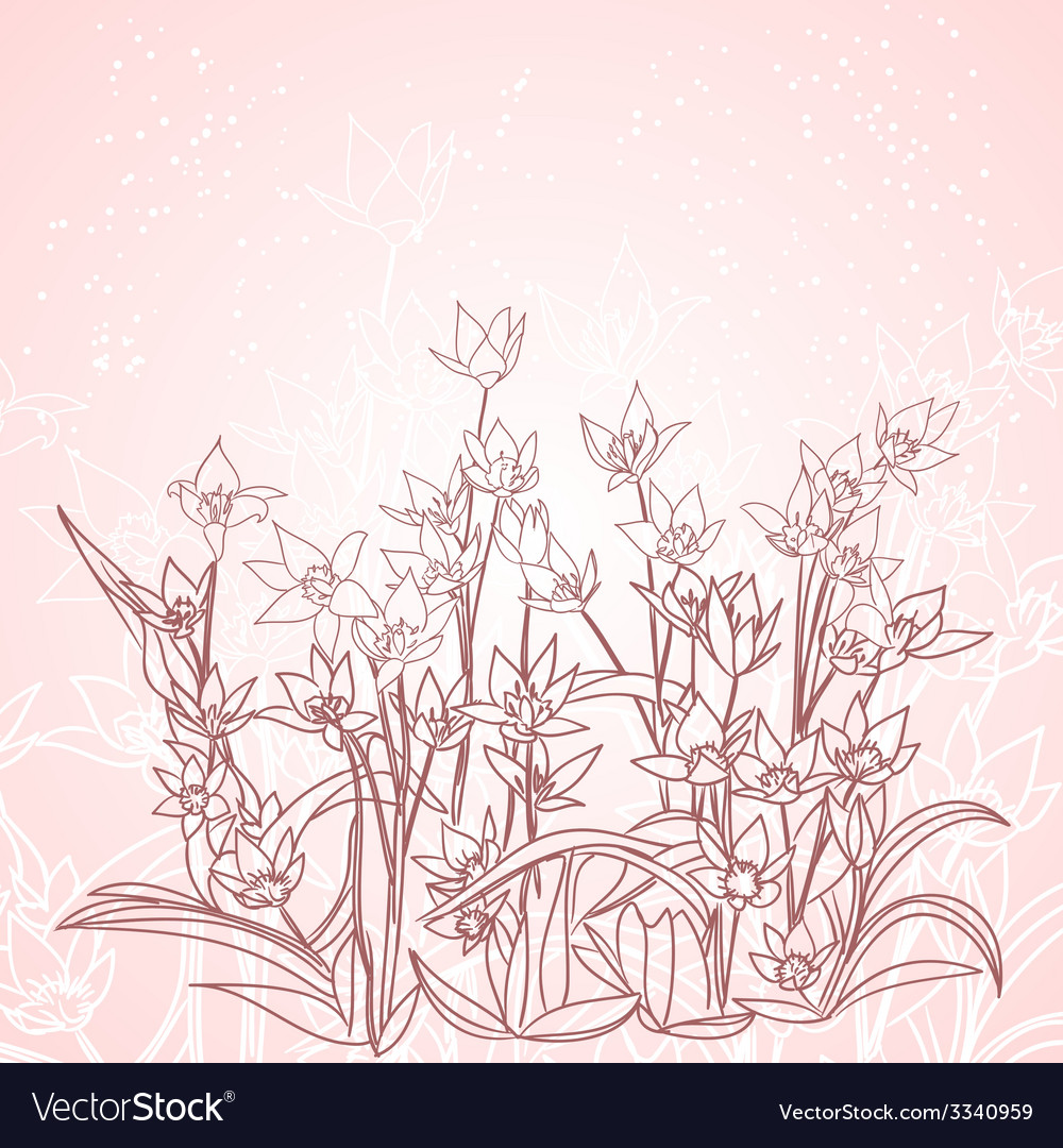 Spring flowers outline background vector | Price: 1 Credit (USD $1)