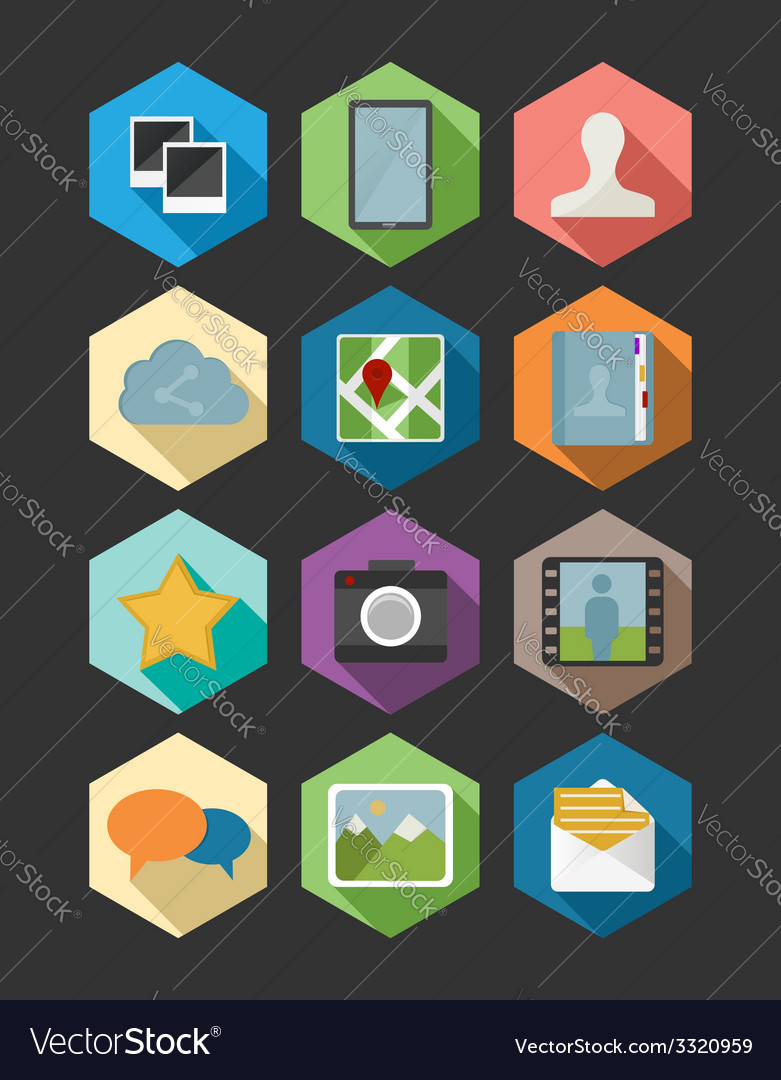 Website and app design flat icons set vector | Price: 1 Credit (USD $1)