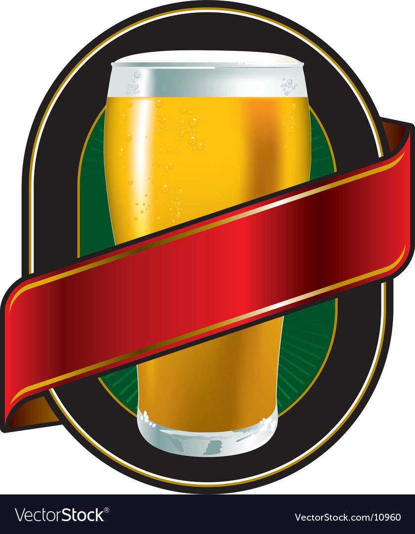 Beer green label vector | Price: 3 Credit (USD $3)