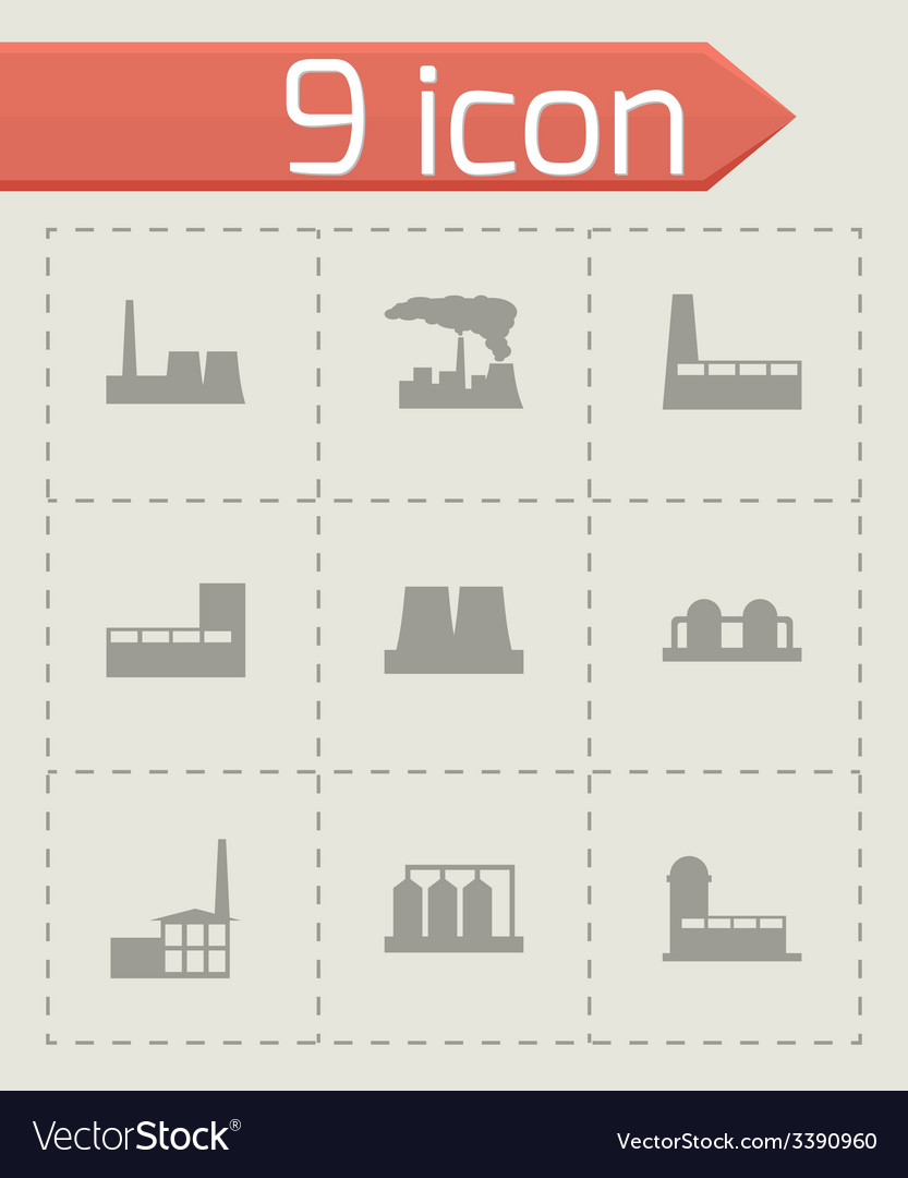 Black factory icon set vector | Price: 1 Credit (USD $1)