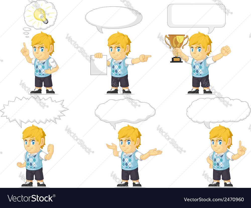 Blonde rich boy customizable mascot 21 vector | Price: 1 Credit (USD $1)