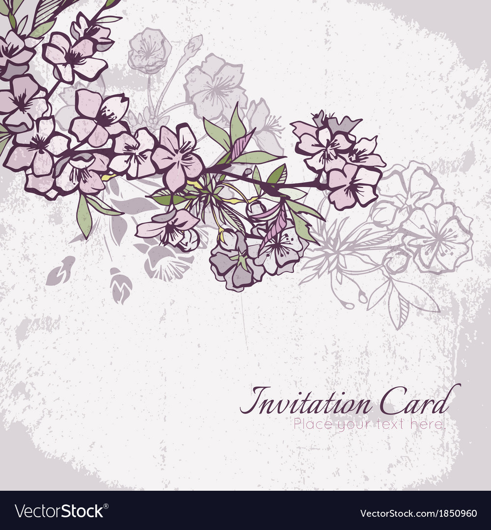 Blossom cherry or sakura wedding invitation card vector | Price: 1 Credit (USD $1)