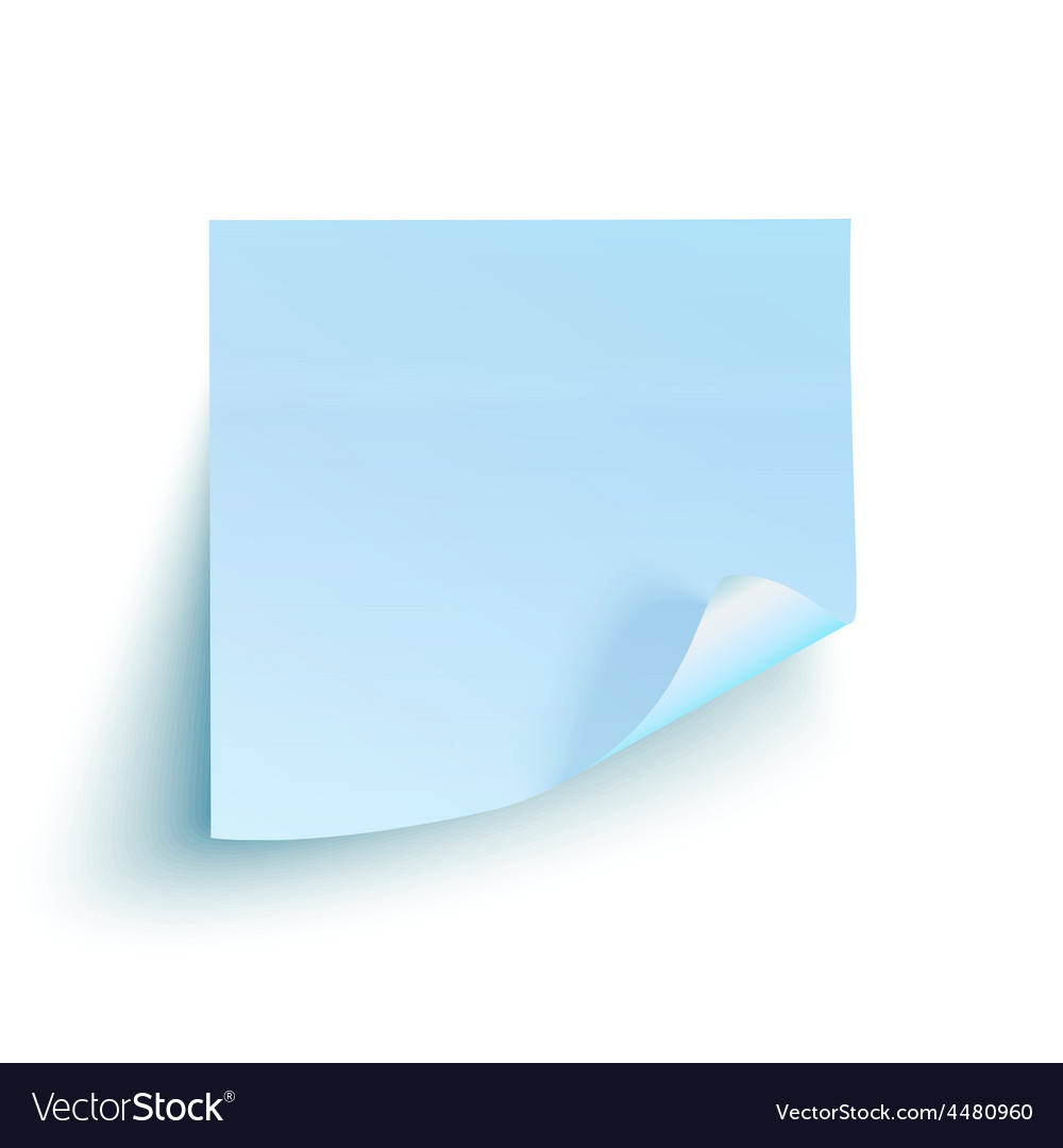 Blue sticky note isolated on white background vector | Price: 1 Credit (USD $1)