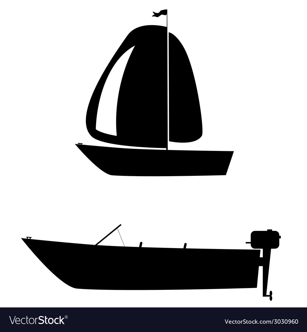 Boat two black silhouette vector | Price: 1 Credit (USD $1)