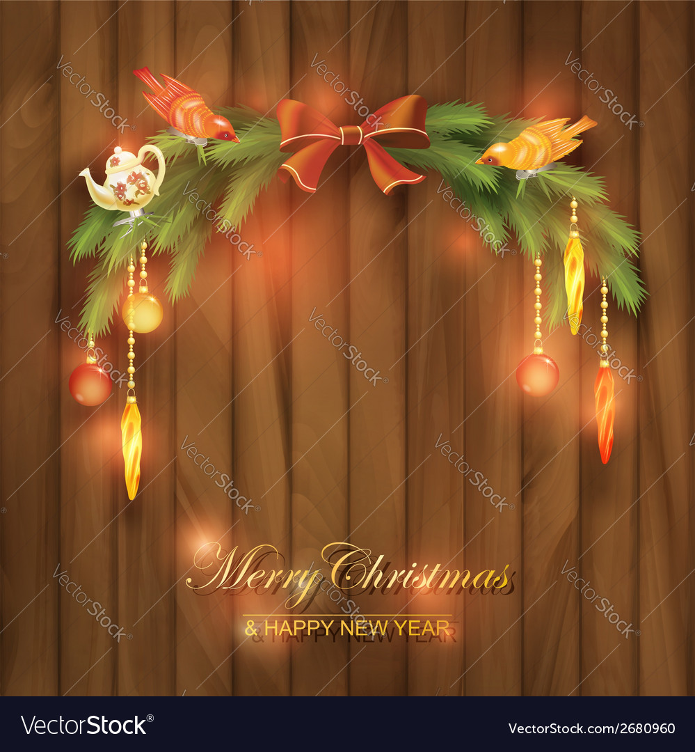 Christmas tree branches decorations toys vector   Price: 1 Credit (USD $1)
