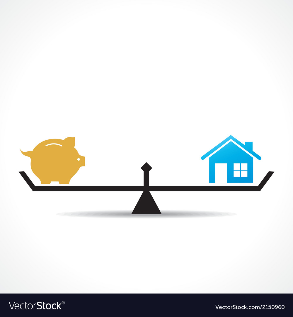 Compare money and home concept vector | Price: 1 Credit (USD $1)