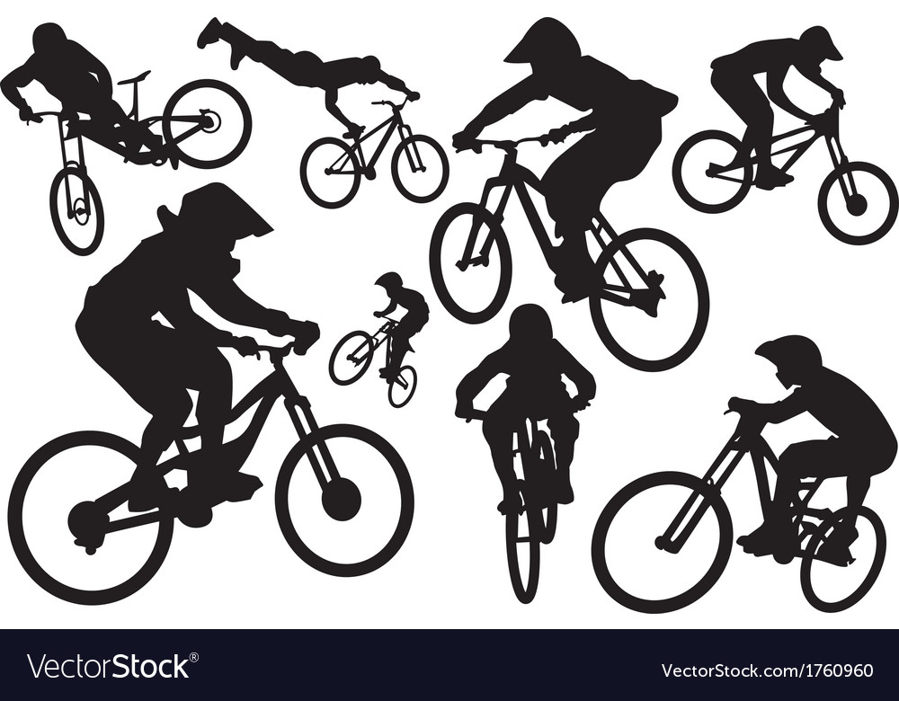 Cyclist silhouettes vector | Price: 1 Credit (USD $1)