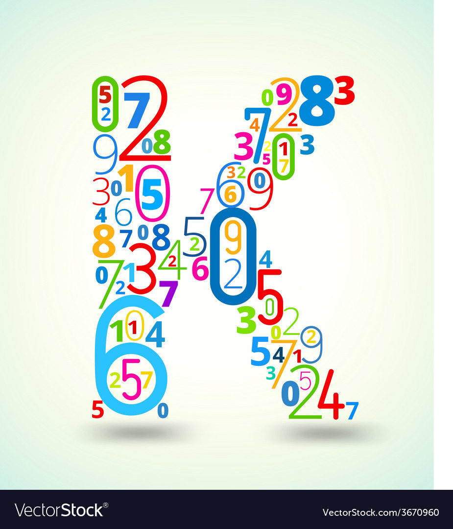Letter k colored font from numbers vector   Price: 1 Credit (USD $1)