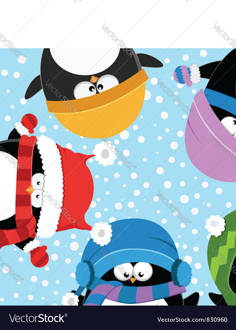 Penguins celebrating snow vector | Price: 3 Credit (USD $3)