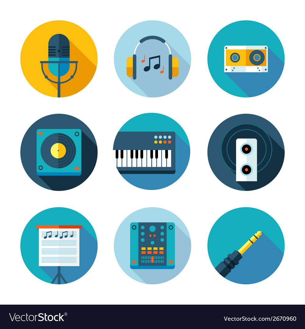 Set of flat music and sound icons vector | Price: 1 Credit (USD $1)