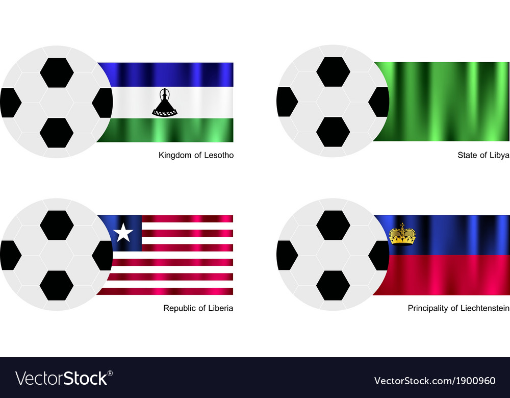 Soccer ball of lesotho libya liberia and liech vector | Price: 1 Credit (USD $1)