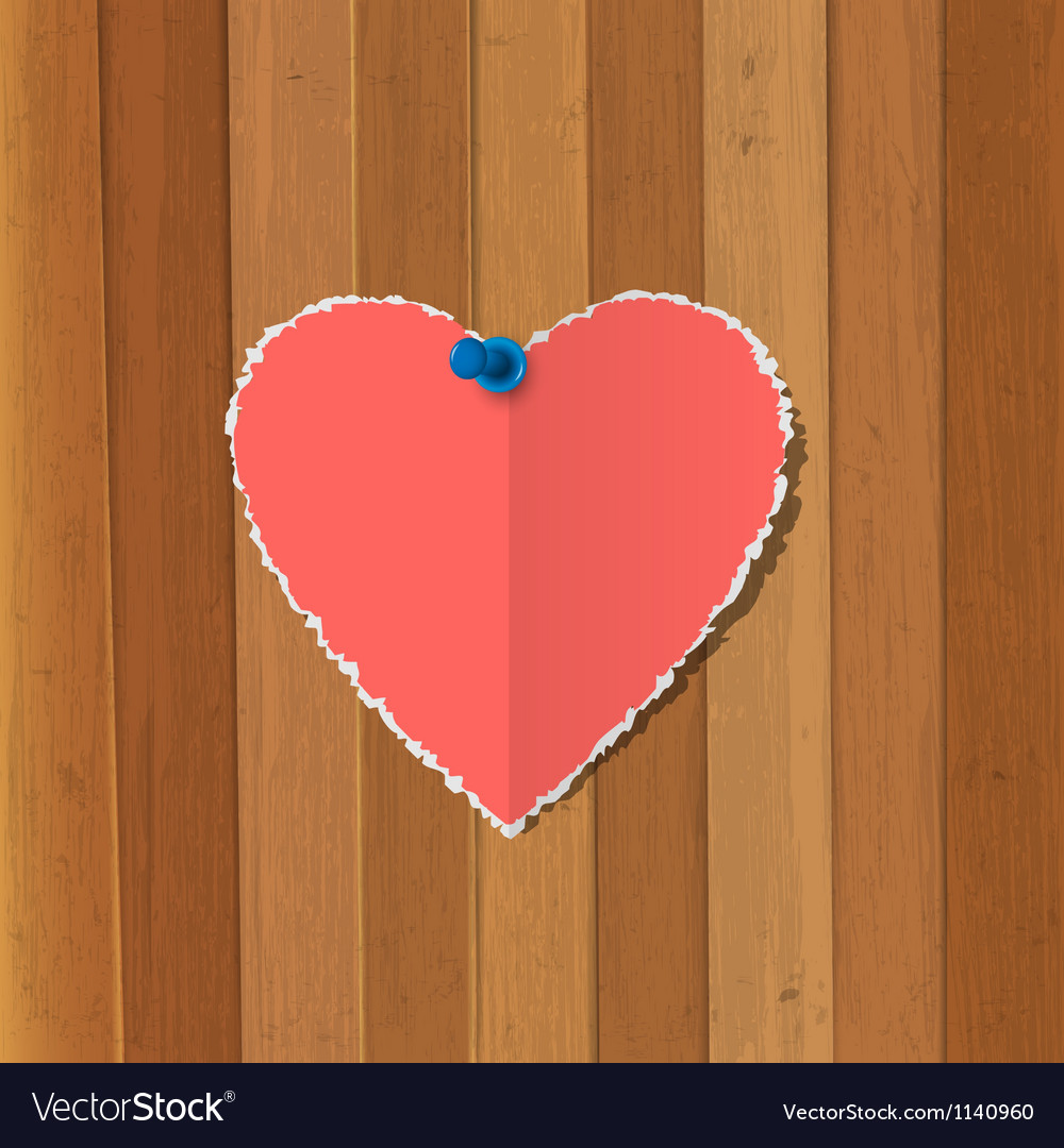 Torn paper heart pinned on wooden background vector | Price: 1 Credit (USD $1)