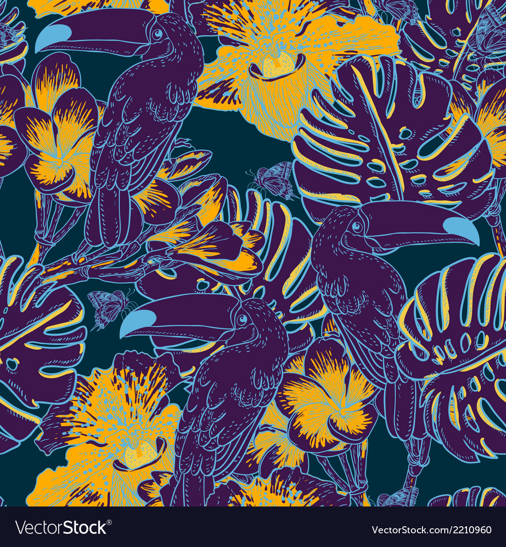 Tropical floral seamless background with toucan vector | Price: 1 Credit (USD $1)