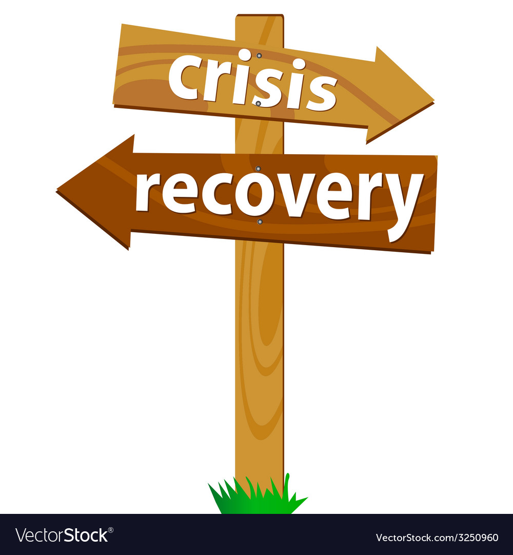 Wooden signpost for the crisis and recovery vector | Price: 1 Credit (USD $1)