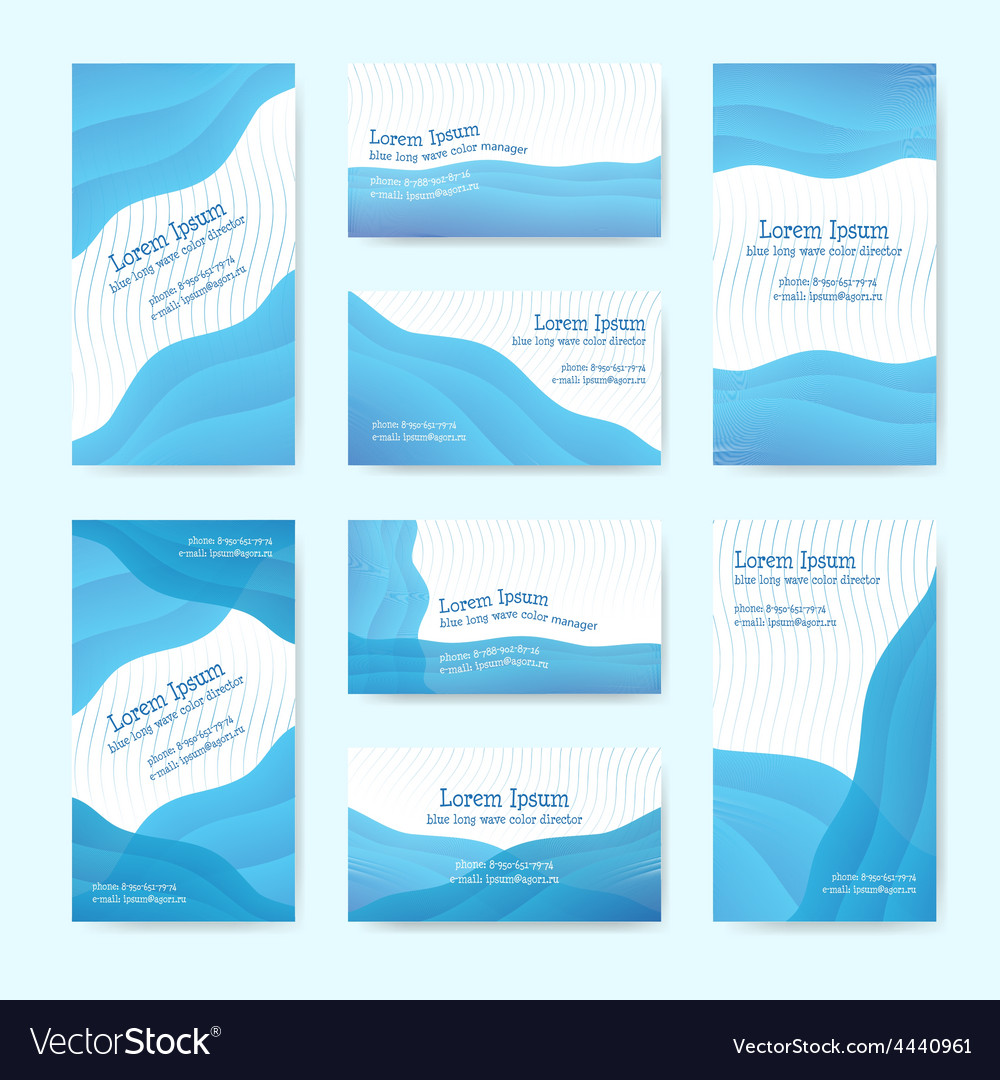 Blue wave visit card vector | Price: 1 Credit (USD $1)