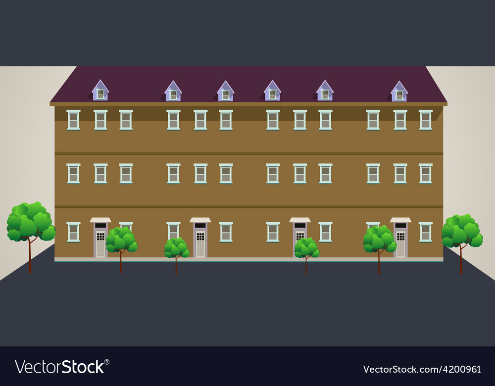 Building with trees vector | Price: 1 Credit (USD $1)