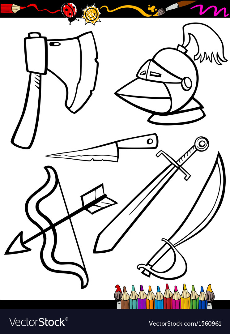 Cartoon weapons objects coloring page vector | Price: 1 Credit (USD $1)